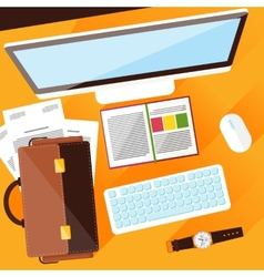 Creative office workplace vector image vector image