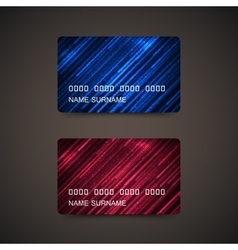 Credit cards with abstract shiny lines vector