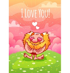Cute enamored red gnome on the lawn vector image