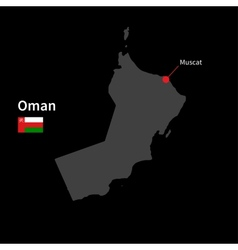 Detailed map of oman and capital city muscat with vector