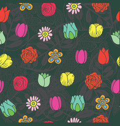 doodle flowers seamless pattern oriental style of vector image