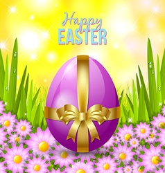 Easter egg in the grass vector image vector image