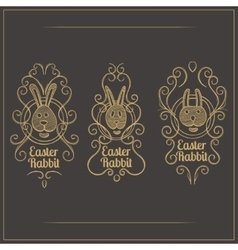 Easter Rabbit Emblem vector image
