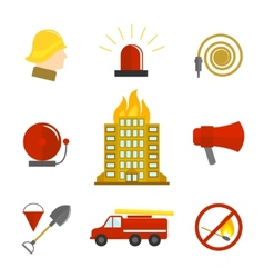 Firefighting icons flat vector image vector image
