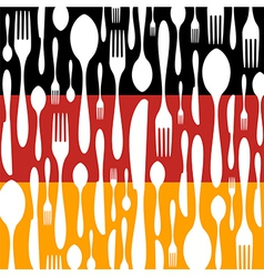 German Cuisine Cutlery pattern on the country flag vector image
