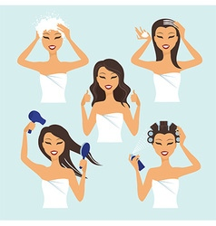 Girl treat and style her hair vector