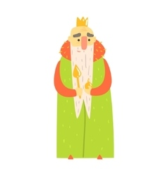 Kind old king with orb and scepter in green mantle vector