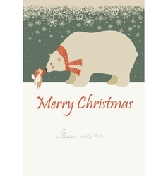 Little angel and polar bear celebrating Christmas vector image vector image
