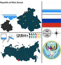 Map of Republic of Altai vector image vector image