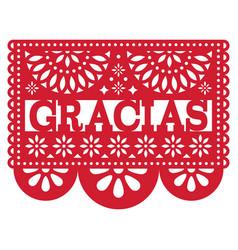 Mexican papel picado design - gracias vector