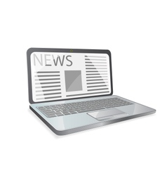 news paper on laptop screen vector image vector image