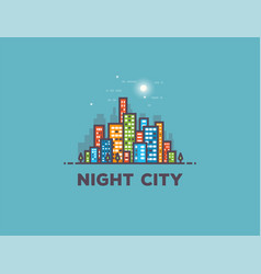 night city line panorama vector image vector image
