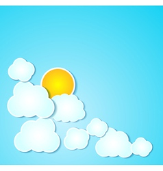 Paper clouds with sun background on blue vector image vector image