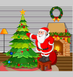 Santa claus with christmas tree in living room vector