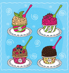 set of different scoop of ice cream vector image vector image