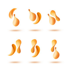 Set of potato crispy falling chips close up vector