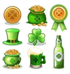 Set Of St Patrick Day green Icons vector image vector image