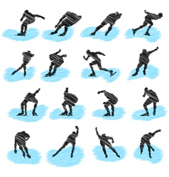 skating sketch vector image vector image
