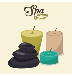 Spa beauty and health aroma candles and hot stones vector