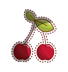 sticker cherry fruit icon stock vector image vector image