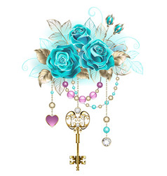 Turquoise roses with keys vector
