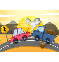 Two cars bumping in the middle of the road vector image vector image