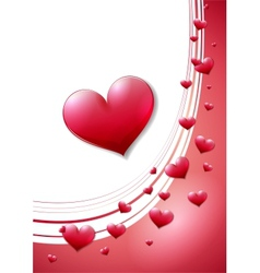 Valentines day card with scattered red heats vector