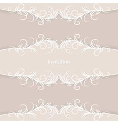 Vintage invitation card on brown background vector image