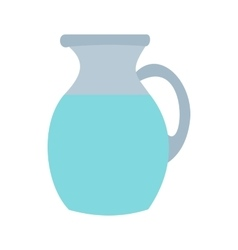 Pitcher and glass of milk icon flat style vector