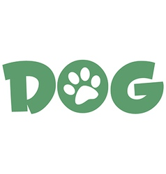 Dog green text with paw print vector