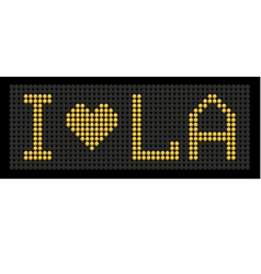 Yellow button board words i love la vector