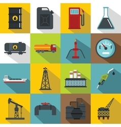 Oil industry items icons set flat style vector