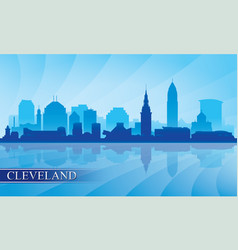 Cleveland city skyline silhouette background vector