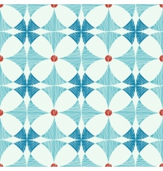 Geometric blue red ikat seamless pattern vector