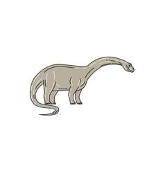Brontosaurus dinosaur looking down mono line vector
