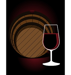 Glass or red wine with an oak cask vector