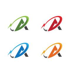 A letter lightning logo template icon design vector