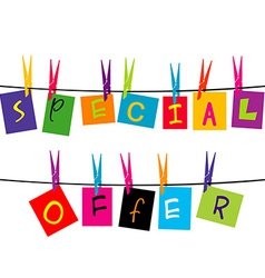 Special offer words hanging on a rope vector image