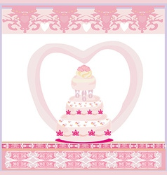 Wedding cake card design vector