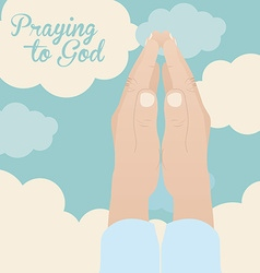 Praying to god design vector