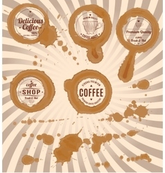 Set of coffee stains with stamps and splashes vector