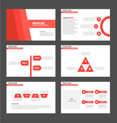 Red tone presentation templates infographic set vector