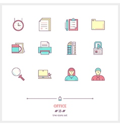Office line icons set vector