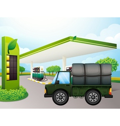 A truck near the gasoline station vector image