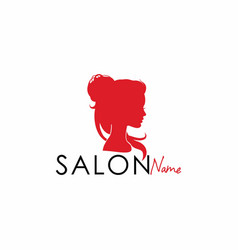 beauty salon silhouette logo design vector image vector image