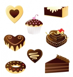 chocolate dessert set vector image vector image