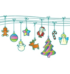 Christmas retro garland vector image