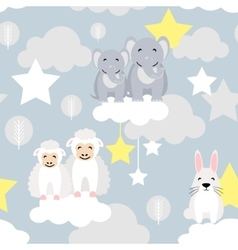 Cute animal kid seamless pattern Elephant vector image vector image