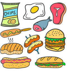 Doodle of food style set collection vector