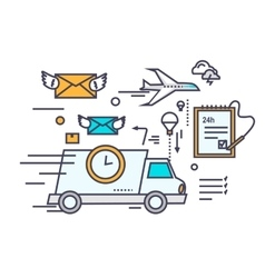 Fast delivery concept icon flat design vector